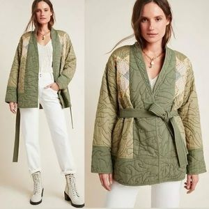 Anthropologie Quilted Patchwork Green Belted Kimono Jacket NWT